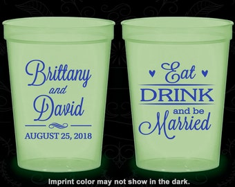 Eat Drink and Be Married, Glow Stadium Cups, Hearts, Glow-in-the-Dark (30)