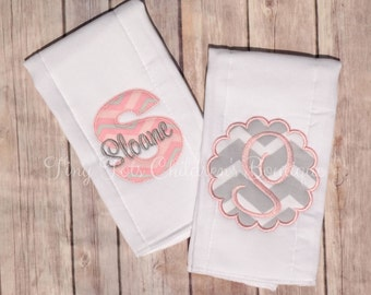 Personalized Burp Cloth Set - Monogram Burp Cloth Set - Embroidered Burp Cloth Gift Set