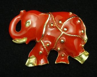 Red Elephant Brooch Pin Enamel Vintage