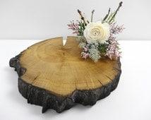 "8"" Wood Slice, Stump Slice, Tree Trunk Slice, Rustic Wood, Reclaimed Oak Wood, Wooden Charger,"