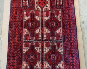 Red Hand Woven Persian Baluch Prayer Rug w. Unusual Geometric Designs- VINTAGE