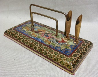 Decorative Paper & Pen Holder w. Persian Hunt Scene/ Inlaid Star Pattern- ANTIQUE