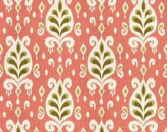 Coral Ikat Fabric Linen Cotton Blend Home Decor Fabric Designer Fabric Upholstery