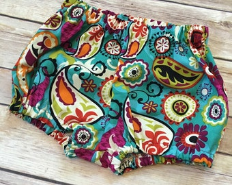 Bloomers for baby toddler girl. Shorts for baby toddler girls. Paisley shorts. Magenta print shorts