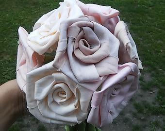 Cotton Bouquet, Cotton Roses, Rustic Wedding , anniversary,  bridal, cotton bouquet, rose centerpiece, wedding anniversary, 1st anniversary