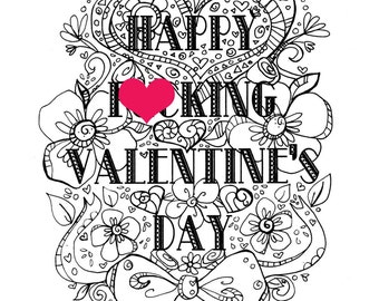 curse coloring page adult coloring page valentines day curse swear happy