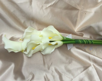 Real Touch Ivory Calla Lilies Bunch of 7 Flowers