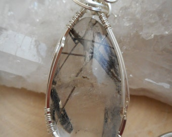 Handcrafted Tourmalinated Quartz Sterling Silver Wire Wrapped  Jewelry