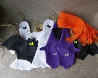 garland,halloween,bat,witch,ghost,white,violet,purple,orange,upcycled,fabric,banner