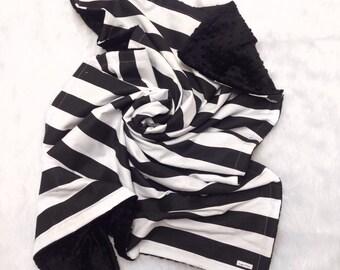 Black stripe minky blanket, black minky dot baby blanket