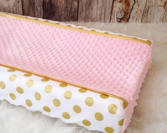 Gold polka dot, pink changing pad cover, gold satin trim and blush minky dot