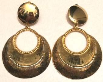 Large Gold Plated Drop Earrings Marilyn Monroe Style !