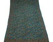 100%Pure Silk Sari Sarong Dress Wrap Sequence & Kantha Thread Work Women Wrap Decorative Fabric Recycle Curtain Drape 5YD Sari -ASS763