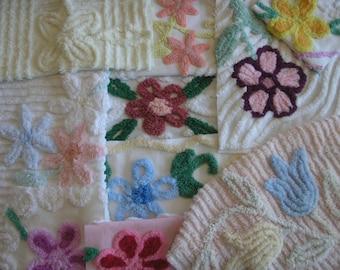 10 Pcs Vintage Chenille Bedspread Fabric Flower Lot... (s23)