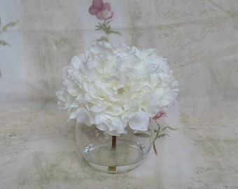 Large Cream Hydrangea Bloom Set in a Clear Glass Bubble Vase with Acrylic Water