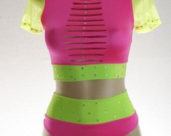Exotic Dancewear Mixed Neon 2 piece High waist set