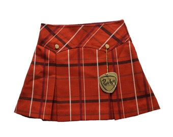 FRENCH VINTAGE 1960's / kids / plaid skirt / wool blend / rust colour / new old stock / size 4 years