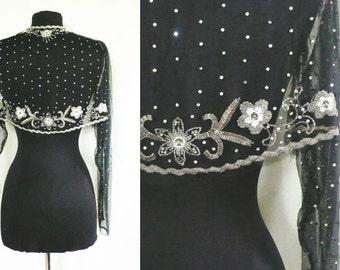 Vintage Black Beaded Bolero Jacket | rhinestones
