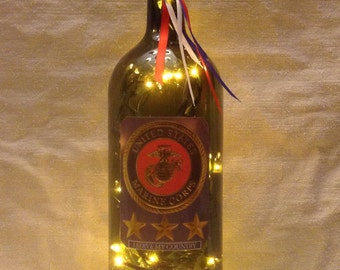 army lighted wine bottle 1 5 liter by lisanndesignsllc on etsy. Black Bedroom Furniture Sets. Home Design Ideas