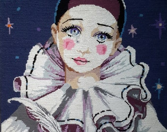 Clown Pierrot and starry night sky -vintage hand stitched needlepoint tapestry ideal for wall/cushion/pillow/bag/stool/chair cover