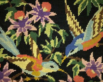 Birds and flowers on black- little vintage hand stitched needlepoint tapestry ideal for wall/cushion/pillow/bag/stool/chair cover