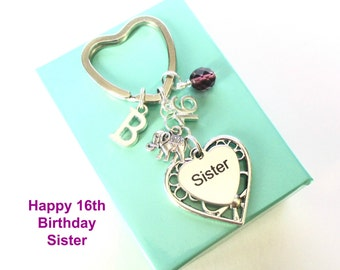 Personalised 16th gift for Sister - 16th birthday sister keyring - Elephant keyring - Sister birthday - 16th keyring - Sister gift - UK