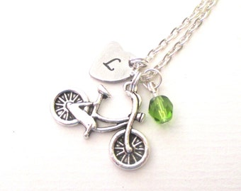 Personalised bicycle necklace - Cyclist gift - Bike charm necklace - Birthday gift for cyclist - Birthstone necklace - Bicycle jewellery