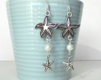 Silver starfish earrings with white pearls - Beach earrings - Starfish jewelry - Beach wedding - Charm earrings - Stocking filler - Etsy UK