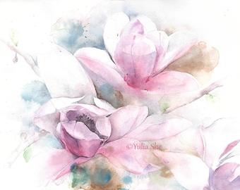 "Original Watercolor painting magnolia flowers home decor 11x14"""