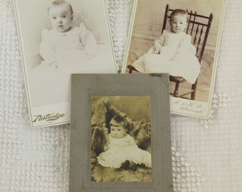 3 Antique vintage baby toddler photos photographs cabinet cards - Lot #4