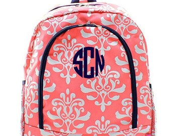 Personalized Damask Backpack Monogrammed Bookbag Coral Floral Navy Blue Girl Large Canvas Kids Tote School Bag Embroidered Monogram Name