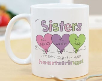 Personalized Heart Strings Sisters Coffee Mug