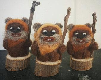 Set of 3 Star Wars Inspired Needle Felted Ewoks