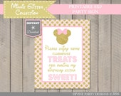 INSTANT DOWNLOAD Pink and Gold Glitter Mouse Printable 8x10 Sweets Sign / Mouse Glitter Collection / Item #2005
