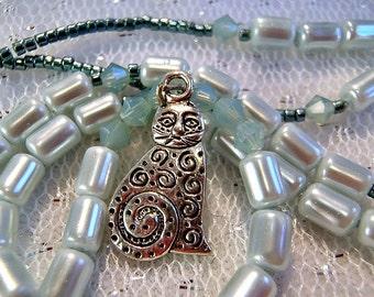 Mint Jewelry, Cat Necklace, Kitty Necklace, Cat Pendant, Green Necklace, Girls Jewelry, Cat Jewelry, Kitty Jewellery, Swarovski Crystals