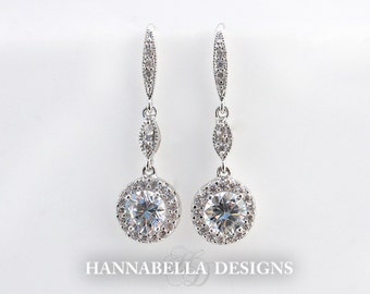 Gigi - Cubic Zirconia Wedding Earrings, Rose Gold Halo Earrings, Bridal CZ Earrings, Dangle Earrings, Drop Earrings, Bridesmaids Earrings