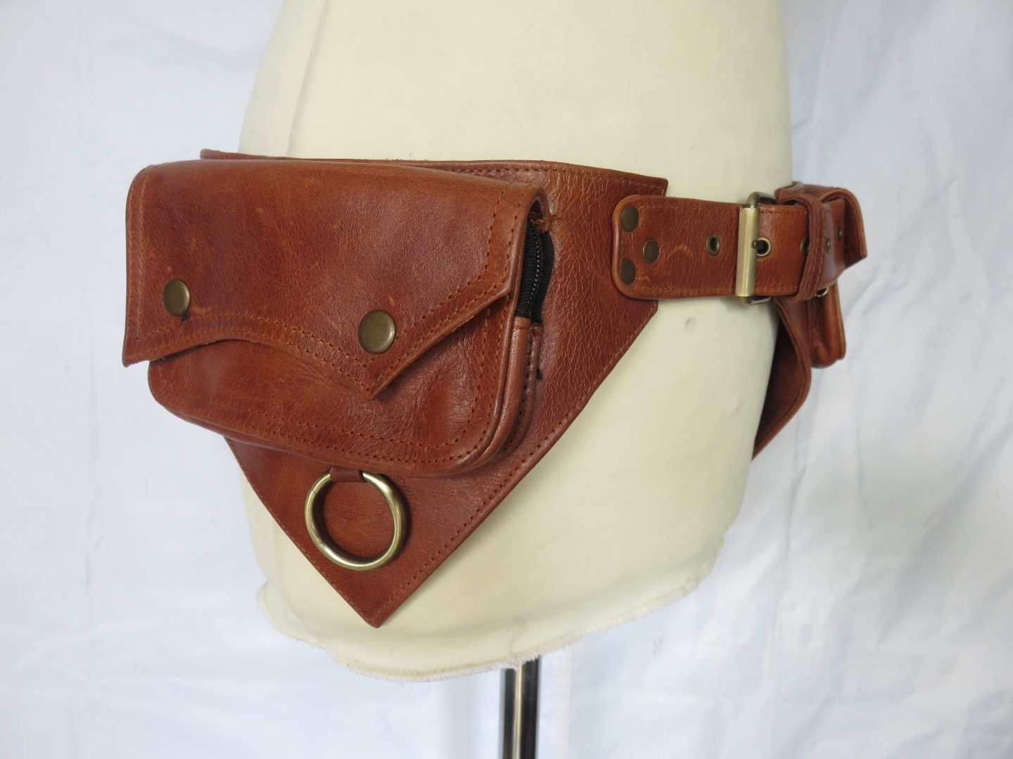 leather utility belt psytrance style in brown leather ring