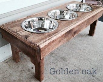 "Reclaimed rustic pallet furniture dog bowl stand golden oak finish. 30""l x 12"" w x 11"" t"