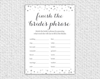 Finish the Bride's Phrase Bridal Shower Game - Instant Download - Wedding Shower Game - Bridal Shower Game - Printable Card