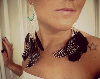 BLACK POLKA DOT feather earrings