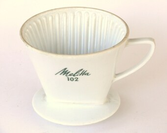 Vintage Melitta 102 Ceramic Filter/Dripper, 1960's Coffee Filter, White Porcelain Coffee Filter, Retro Kitchen, German Porcelain