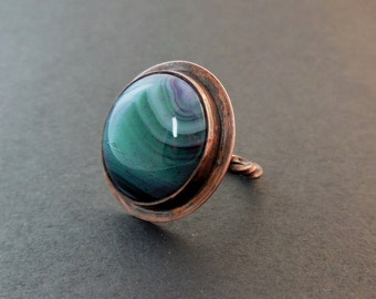 Round agate stone ring-copper ring-Made to Order