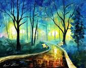 "Fine Art Artwork - Blue Fog — Palette Knife Landscape Oil Painting On Canvas By Leonid Afremov. Size: 30"" X 24"" Inches (75 cm x 60 cm)"