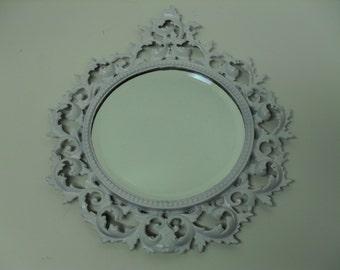 Round Wall Mirror Ornate Cast Iron Framed Shabby White