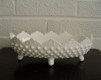 Fenton Hobnail White Milk Glass Footed Candy Bowl Relish Dish