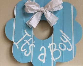 Personalized Beadboard Baby Wreath