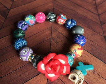 Day of the Dead bracelets. Red rose bracelet. Dia de los muertos