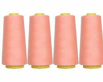 4 Big Cones Peach Serger Sewing Thread 2750 Yd Cones Tex 27 40s2 - Threadart