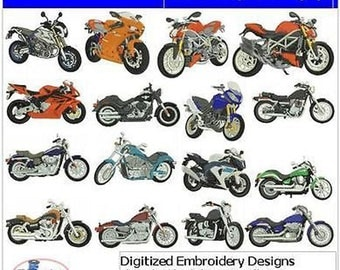 Embroidery Design CD - Motorcycles(1) - 16 Designs - 9 Formats - Threadart