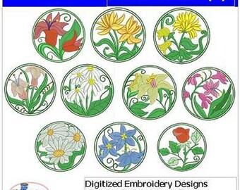 Embroidery Design CD - Floral Circles(1) - 10 Designs - 9 Formats - Threadart